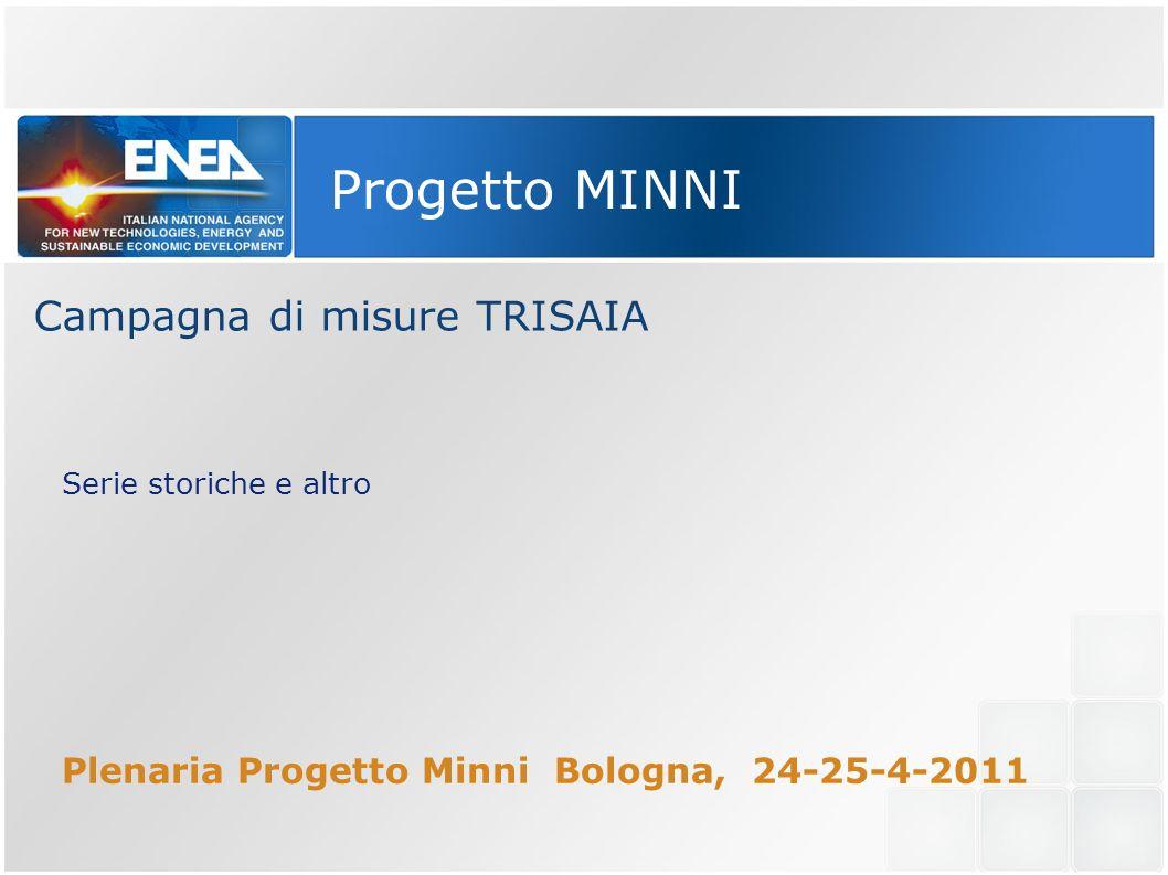 Progetto MINNI Campagna di misure TRISAIA Serie storiche e altro Plenaria Progetto Minni Bologna, 24-25-4-2011