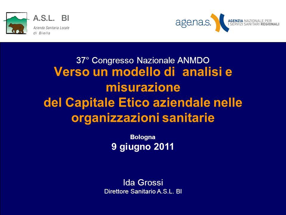 Verso un modello di analisi e misurazione del Capitale Etico aziendale nelle organizzazioni sanitarie Bologna 9 giugno 2011 Ida Grossi Direttore Sanit
