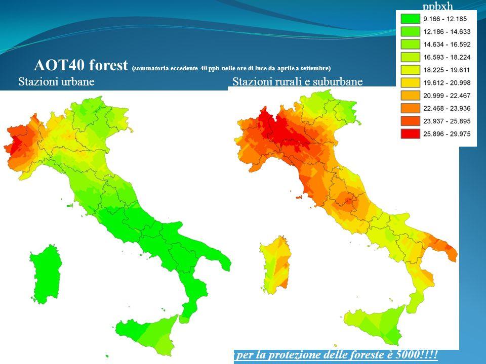 Stazioni urbaneStazioni rurali e suburbane AOT40 forest (sommatoria eccedente 40 ppb nelle ore di luce da aprile a settembre) ppbxh Il limite per la protezione delle foreste è 5000!!!!