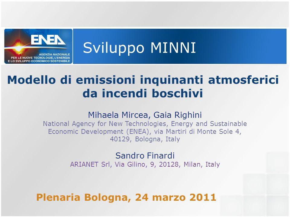Modello di emissioni inquinanti atmosferici da incendi boschivi Mihaela Mircea, Gaia Righini National Agency for New Technologies, Energy and Sustaina