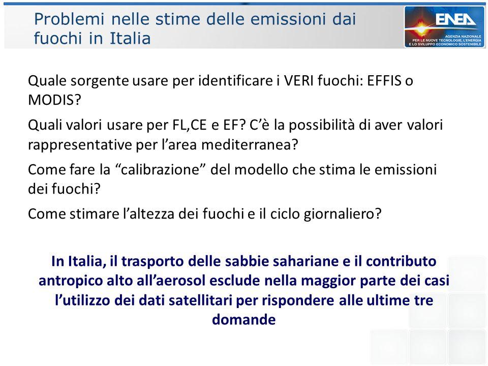 Problemi nelle stime delle emissioni dai fuochi in Italia Quale sorgente usare per identificare i VERI fuochi: EFFIS o MODIS? Quali valori usare per F