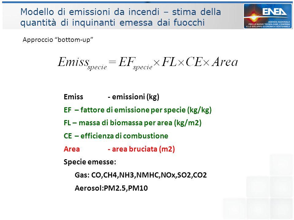 Conclusioni preliminari La descrizione della vegetazione con più classi aumenta le emissioni I valori dei FL, CE e EF per le 3 classi di vegetazione non sono derivati da quelli per la vegetazione descritta con più classi Le emissioni di EFFIS e MODIS sono diverse perché le area bruciate sono diverse: per esempio EFFIS esclude molti fuochi in area agricole.