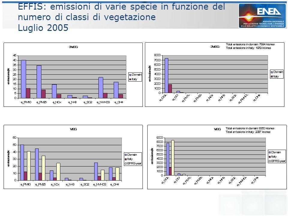 MODIS: area bruciata e emissioni in funzione del numero di classi di vegetazione Luglio 2005 Total emissions in domain:8216 ktones Total emissions in domain: 10520 ktones