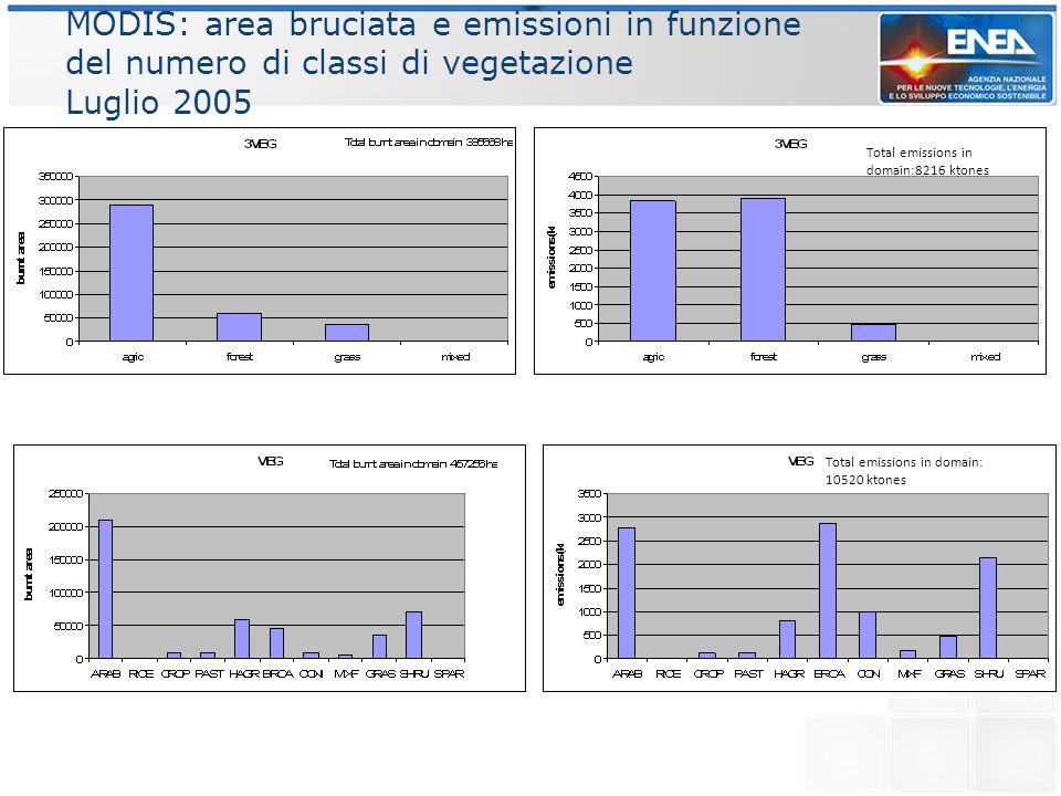 MODIS: area bruciata e emissioni in funzione del numero di classi di vegetazione Luglio 2005 Total emissions in domain:8216 ktones Total emissions in
