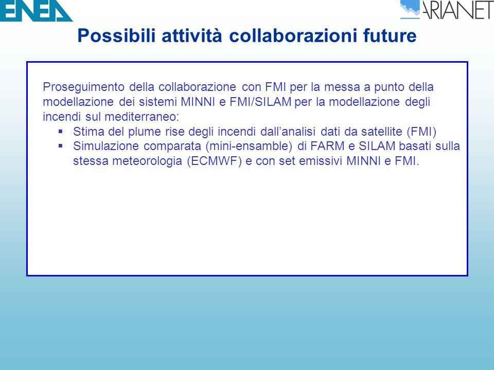 Possibili attività collaborazioni future Proseguimento della collaborazione con FMI per la messa a punto della modellazione dei sistemi MINNI e FMI/SILAM per la modellazione degli incendi sul mediterraneo: Stima del plume rise degli incendi dallanalisi dati da satellite (FMI) Simulazione comparata (mini-ensamble) di FARM e SILAM basati sulla stessa meteorologia (ECMWF) e con set emissivi MINNI e FMI.