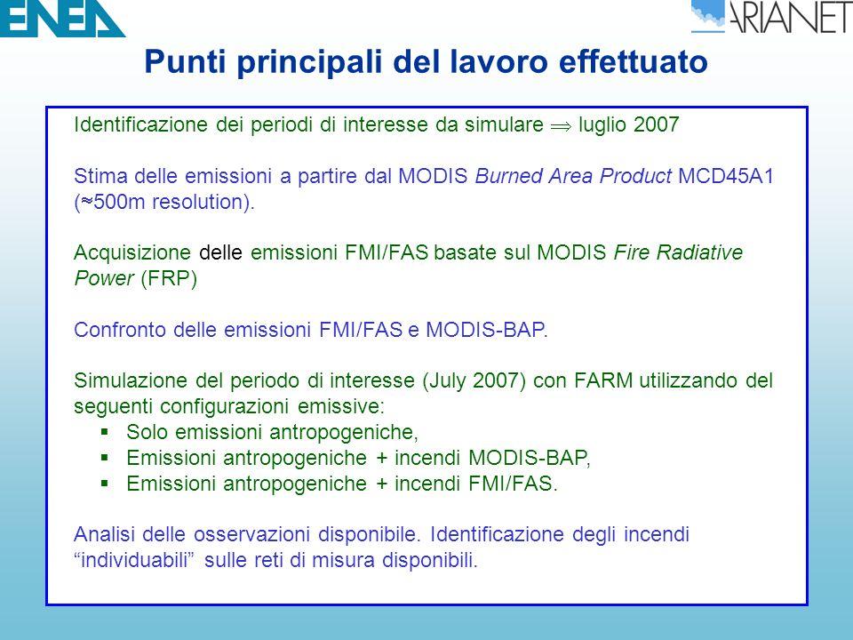 Configurazione delle simulazioni per gli Incendi Risoluzione spaziale: 48, 12 km Griglia verticale: 16 liv (fino 10 km) Emissioni: ISPRA2005 TNO MEGAPOLI European inventory BCs: Campi GEMS per gases e aerosols Domini innestati = Sist.