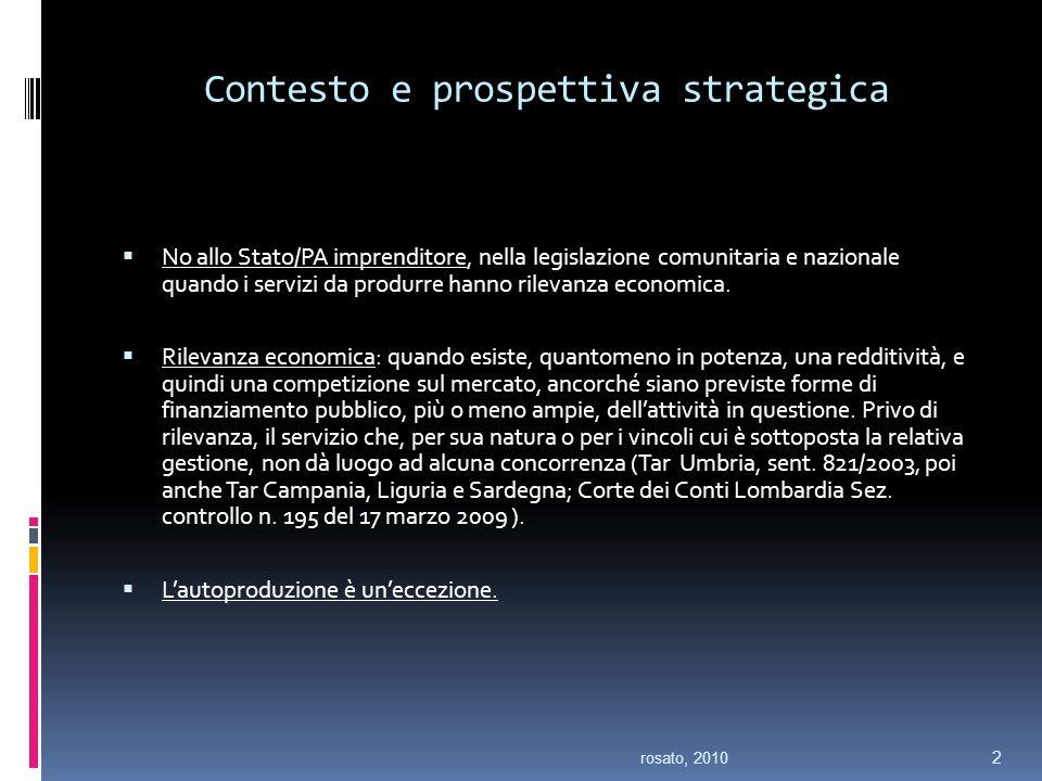Contesto e prospettiva strategica No allo Stato/PA imprenditore, nella legislazione comunitaria e nazionale quando i servizi da produrre hanno rilevanza economica.