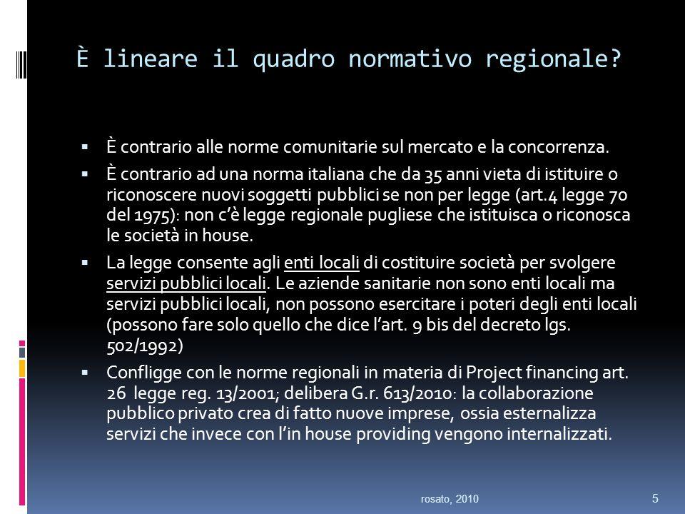 È lineare il quadro normativo regionale.