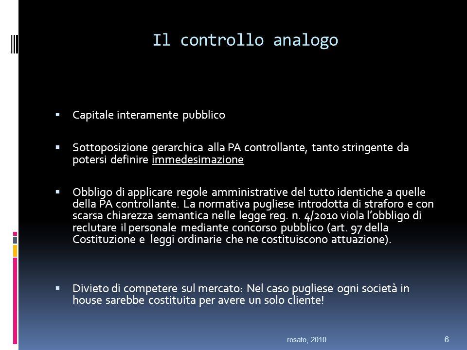 Il controllo analogo Capitale interamente pubblico Sottoposizione gerarchica alla PA controllante, tanto stringente da potersi definire immedesimazione Obbligo di applicare regole amministrative del tutto identiche a quelle della PA controllante.