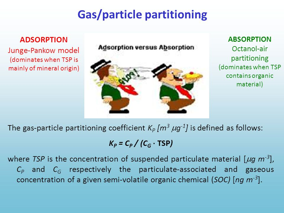ADSORPTION Junge- Pankow model (dominates when TSP is mainly of mineral origin) ABSORPTION Octanol-air partitioning (dominates when TSP contains organ