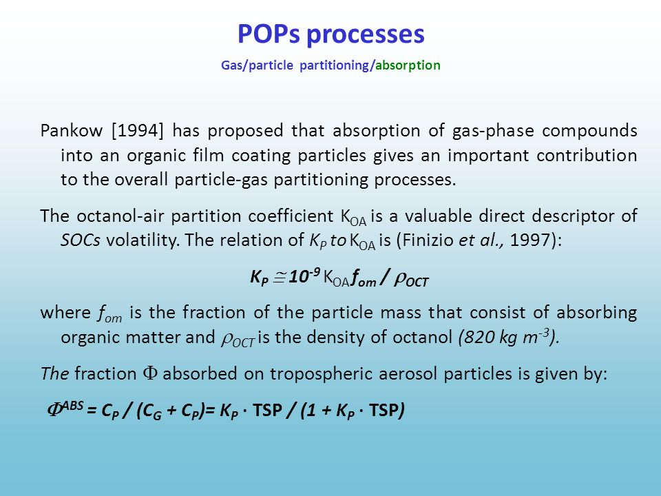 Pankow [1994] has proposed that absorption of gas-phase compounds into an organic film coating particles gives an important contribution to the overal