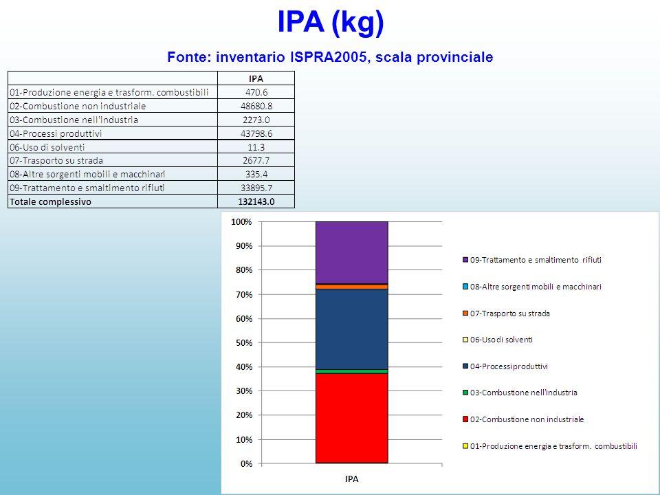 IPA (kg) Fonte: inventario ISPRA2005, scala provinciale
