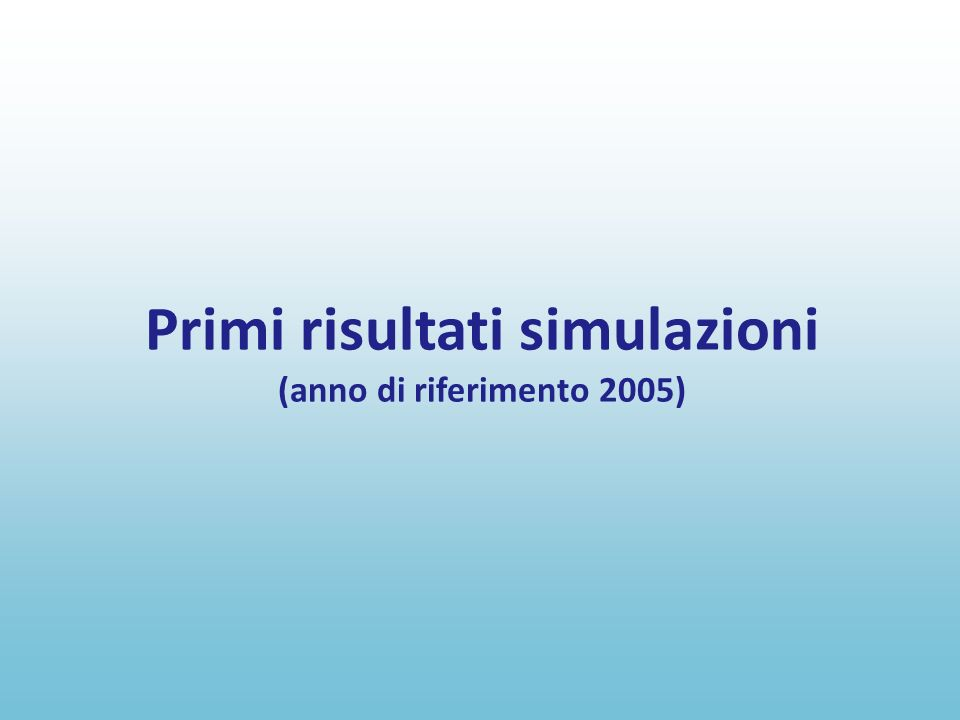 Primi risultati simulazioni (anno di riferimento 2005)