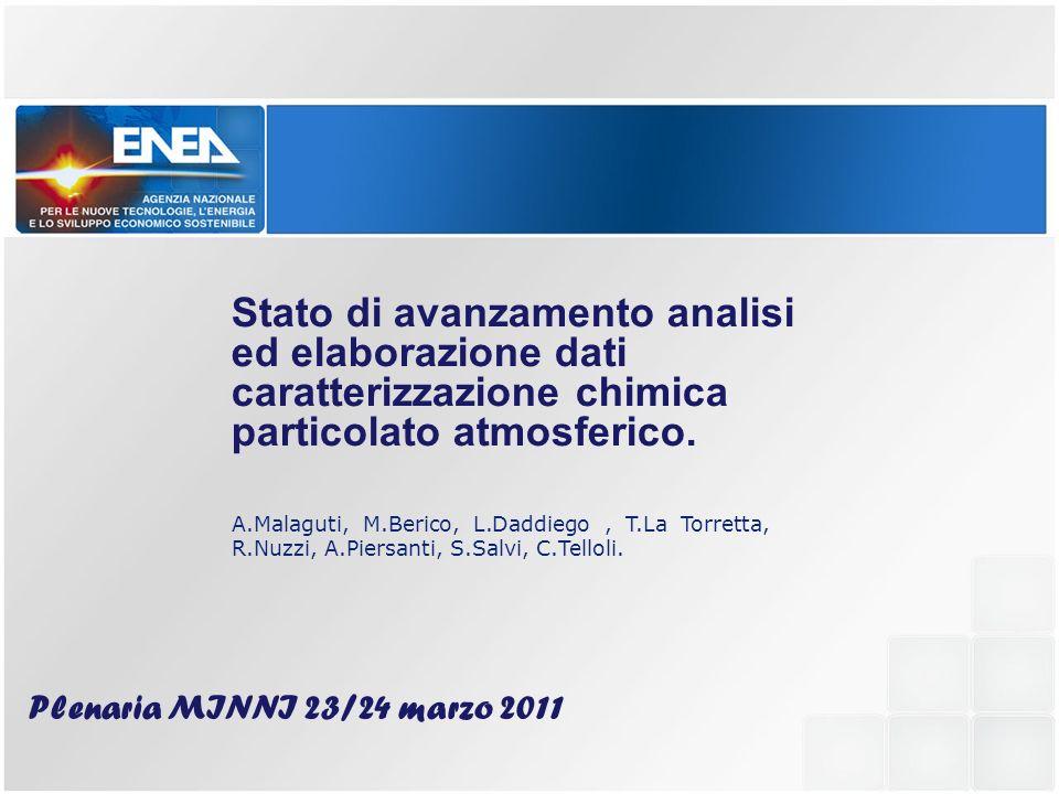 Stato di avanzamento analisi ed elaborazione dati caratterizzazione chimica particolato atmosferico.