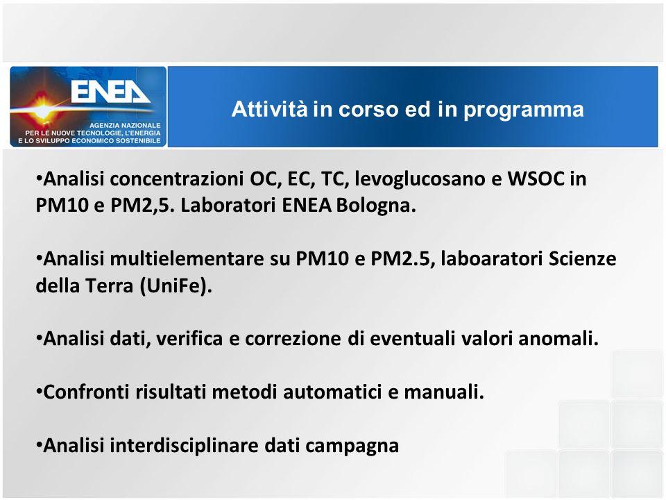 Analisi concentrazioni OC, EC, TC, levoglucosano e WSOC in PM10 e PM2,5. Laboratori ENEA Bologna. Analisi multielementare su PM10 e PM2.5, laboaratori