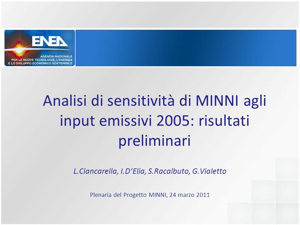 Analisi di sensitività di MINNI agli input emissivi 2005: risultati preliminari L.Ciancarella, I.DElia, S.Racalbuto, G.Vialetto Plenaria del Progetto