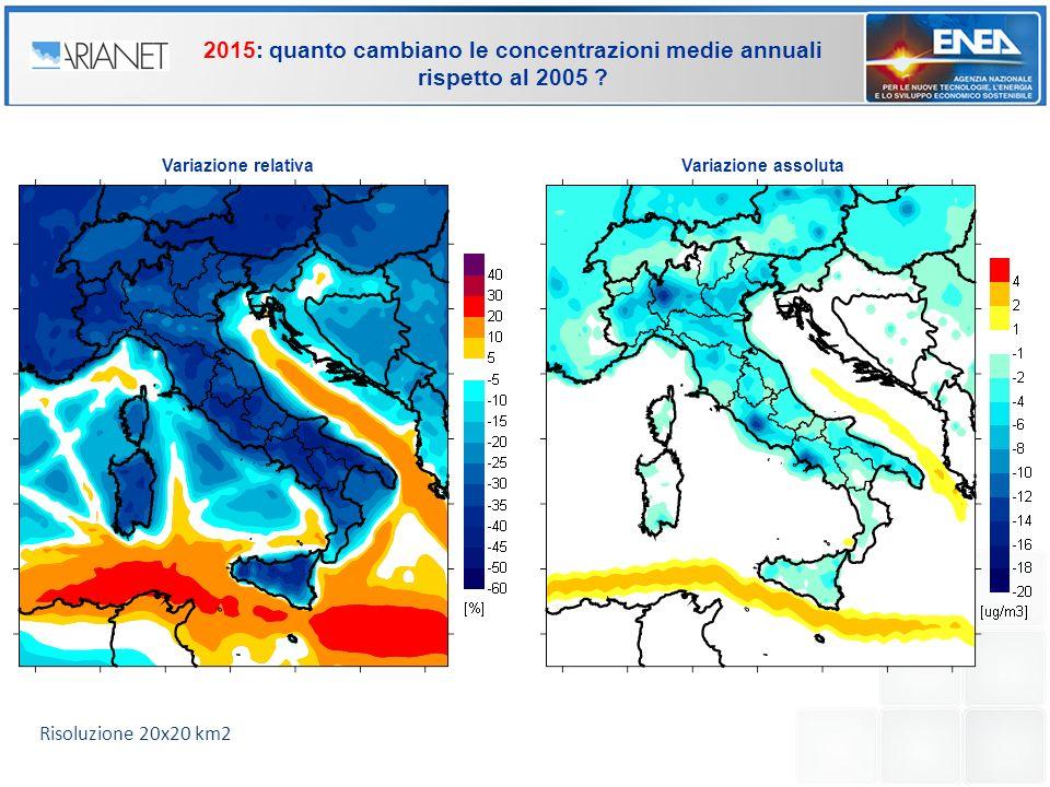Variazione relativaVariazione assoluta 2015: quanto cambiano le concentrazioni medie annuali rispetto al 2005 ? Risoluzione 20x20 km2