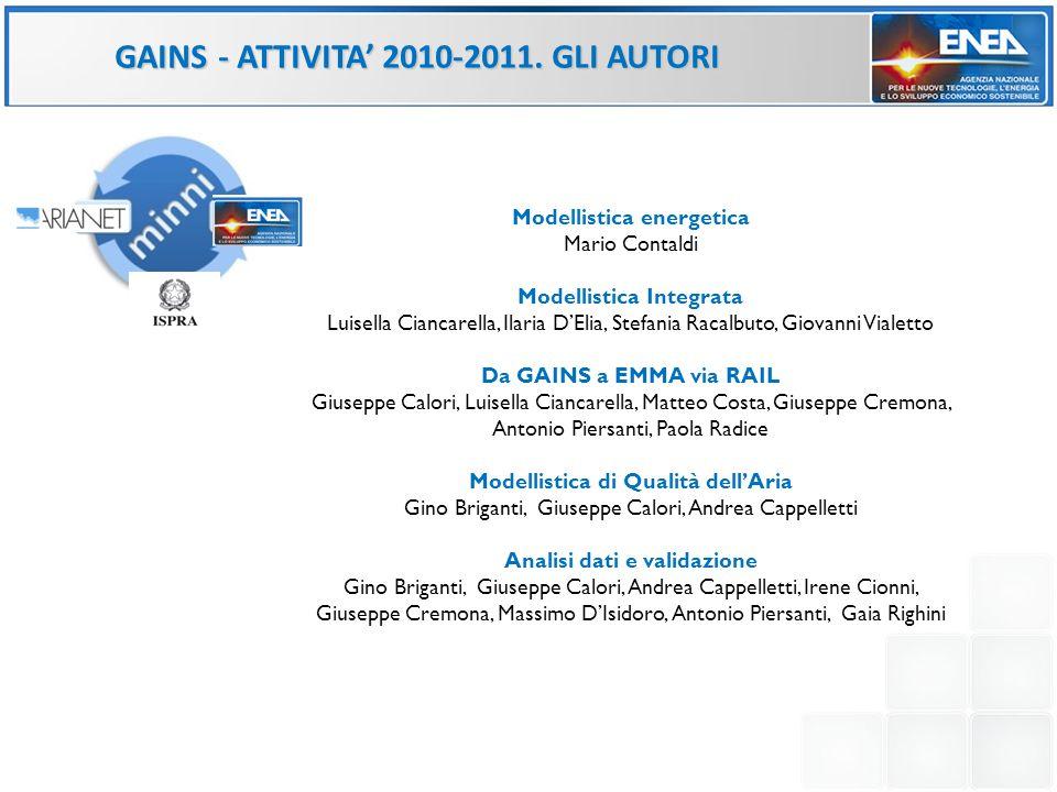 GAINS- ATTIVITA 2010-2011. GLI AUTORI Modellistica energetica Mario Contaldi Modellistica Integrata Luisella Ciancarella, Ilaria DElia, Stefania Racal