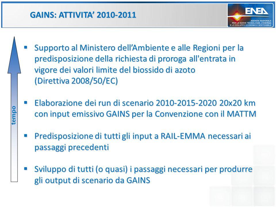 GAINS: ATTIVITA 2010-2011 Supporto al Ministero dellAmbiente e alle Regioni per la predisposizione della richiesta di proroga all'entrata in vigore de