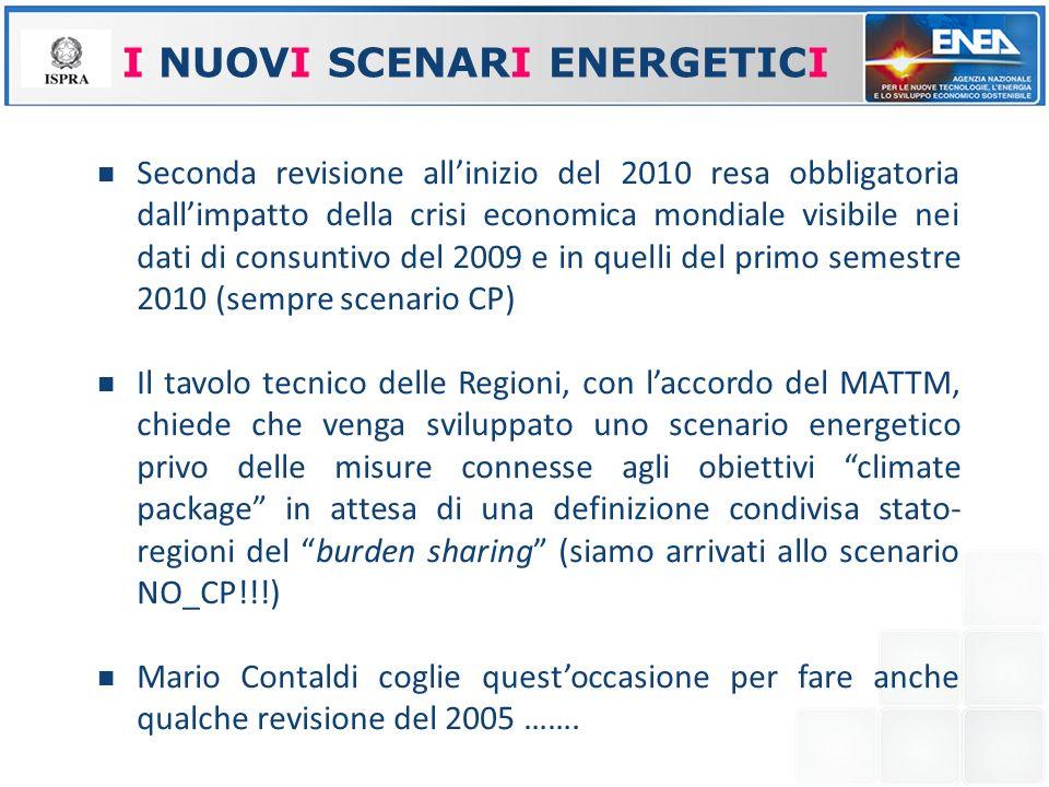 I NUOVI SCENARI ENERGETICI Seconda revisione allinizio del 2010 resa obbligatoria dallimpatto della crisi economica mondiale visibile nei dati di cons