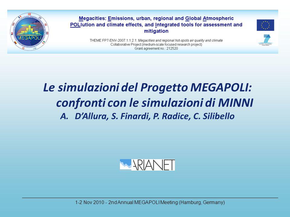 Le simulazioni del Progetto MEGAPOLI: confronti con le simulazioni di MINNI A.DAllura, S.