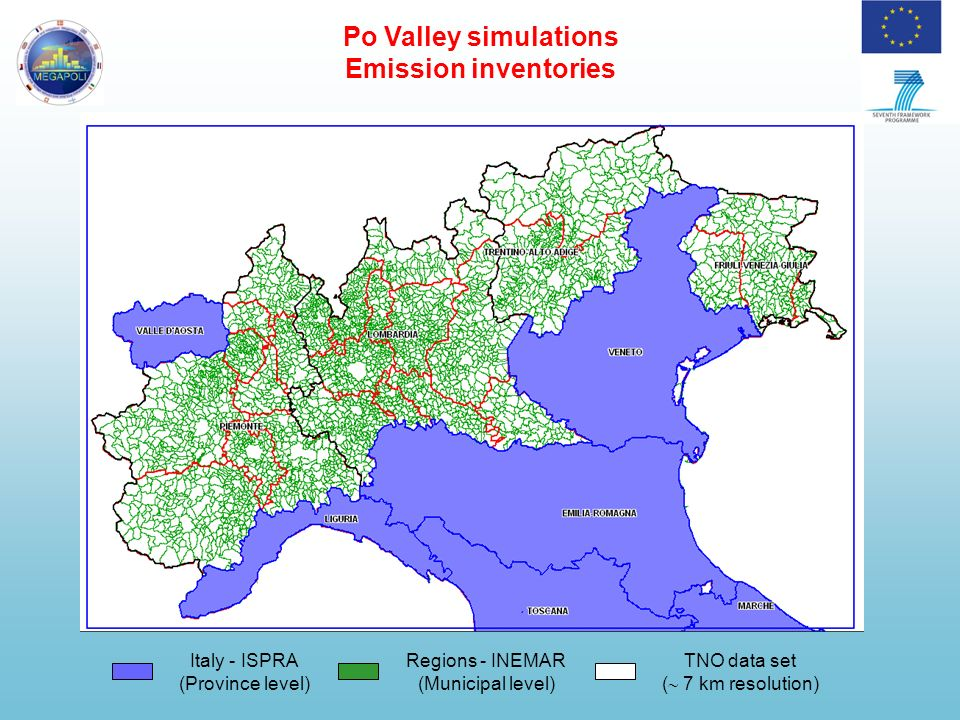 Po Valley simulations Po-Valley tracers emissions CO and PM fine tracers are emitted only in the Po Valley region (green); are transported and deposited (dry and wet); chemical and aerosol precesses are not considered (chemically not reactive).