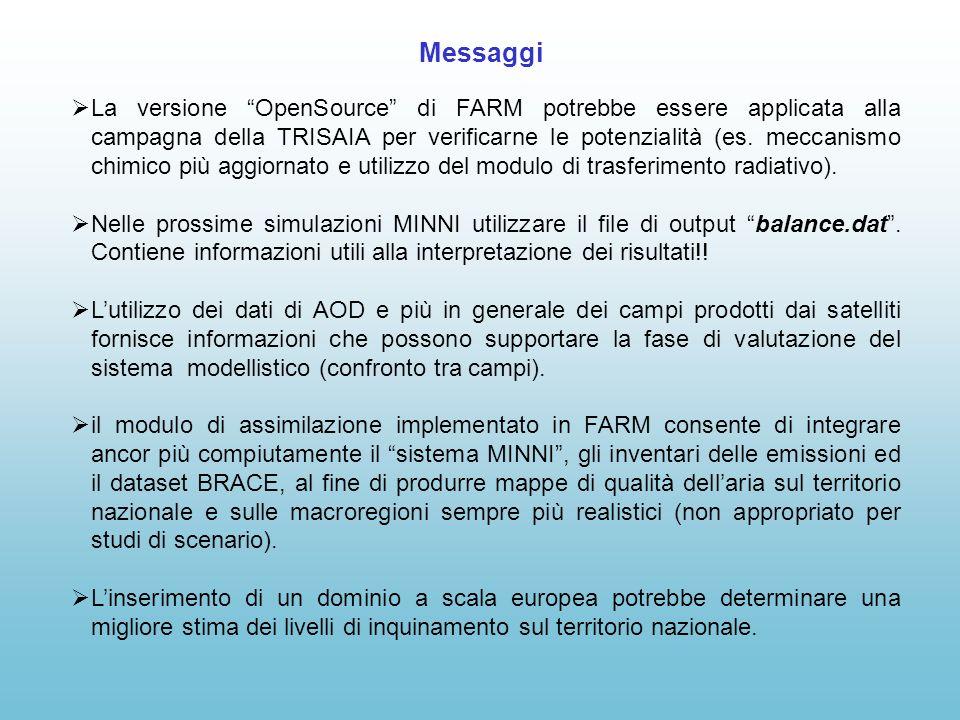 Messaggi La versione OpenSource di FARM potrebbe essere applicata alla campagna della TRISAIA per verificarne le potenzialità (es.