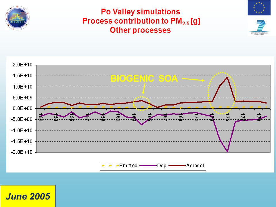 Po Valley simulations Process contribution to PM 2.5 [g] Other processes BIOGENIC SOA June 2005
