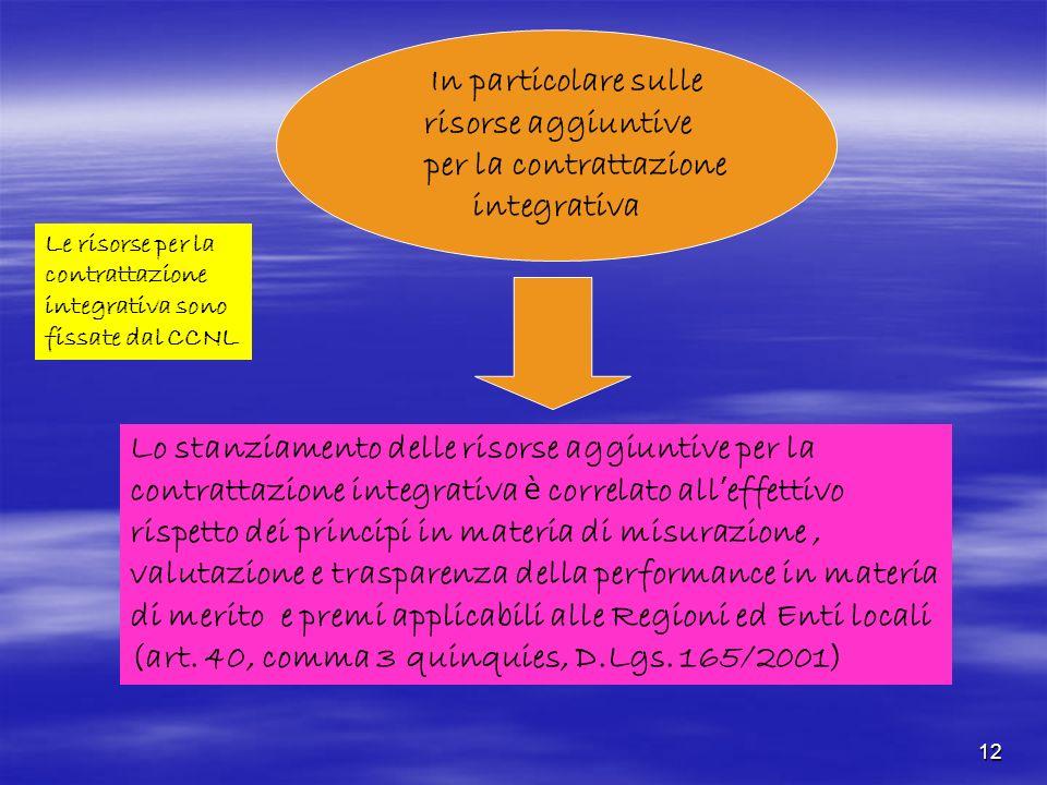 12 In particolare sulle risorse aggiuntive per la contrattazione integrativa Lo stanziamento delle risorse aggiuntive per la contrattazione integrativ