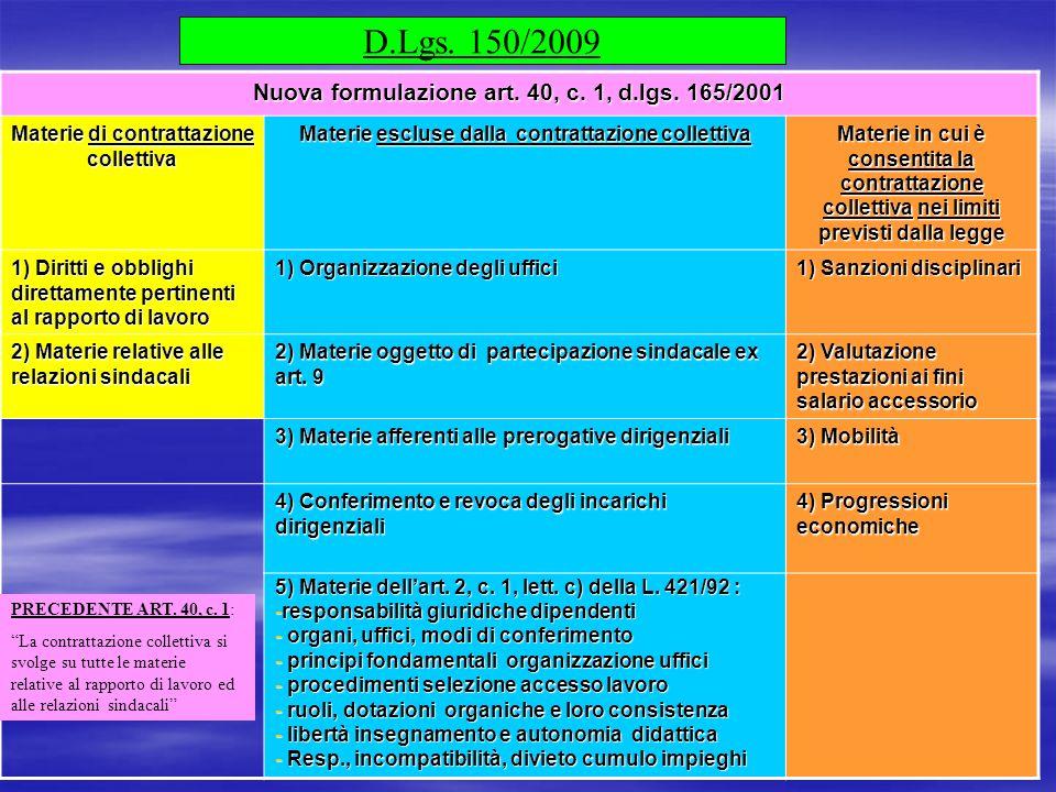 14 D.Lgs. 150/2009 Nuova formulazione art. 40, c. 1, d.lgs. 165/2001 Materie di contrattazione collettiva Materie escluse dalla contrattazione collett