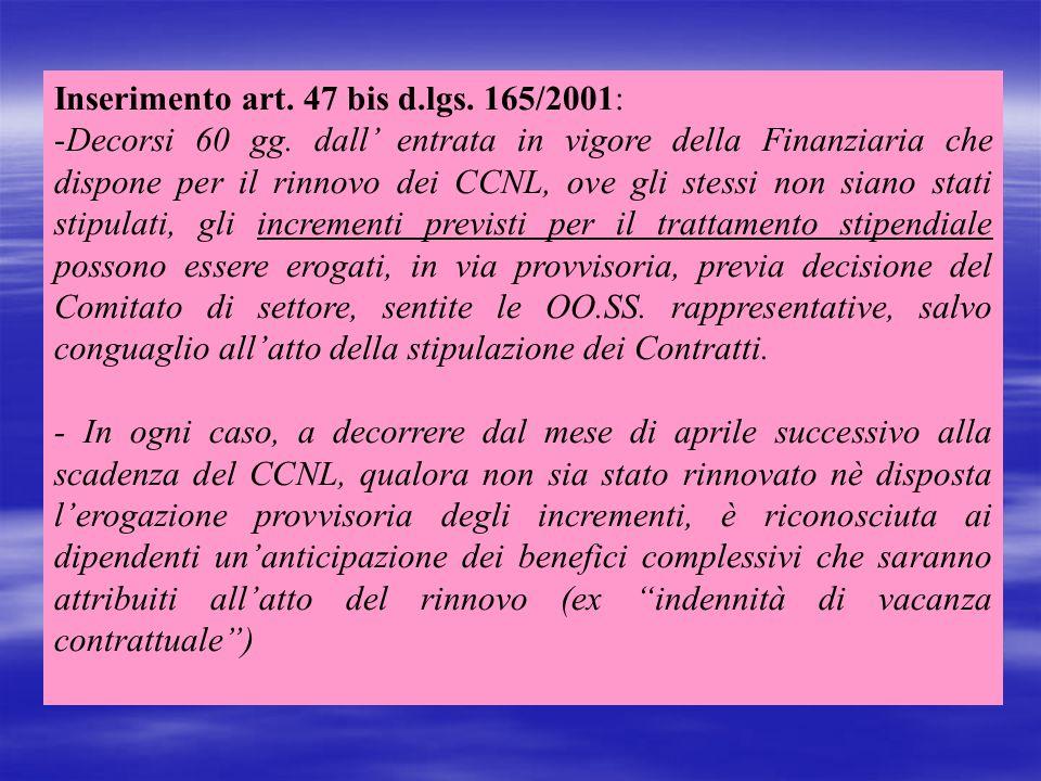 Inserimento art. 47 bis d.lgs. 165/2001: -Decorsi 60 gg. dall entrata in vigore della Finanziaria che dispone per il rinnovo dei CCNL, ove gli stessi