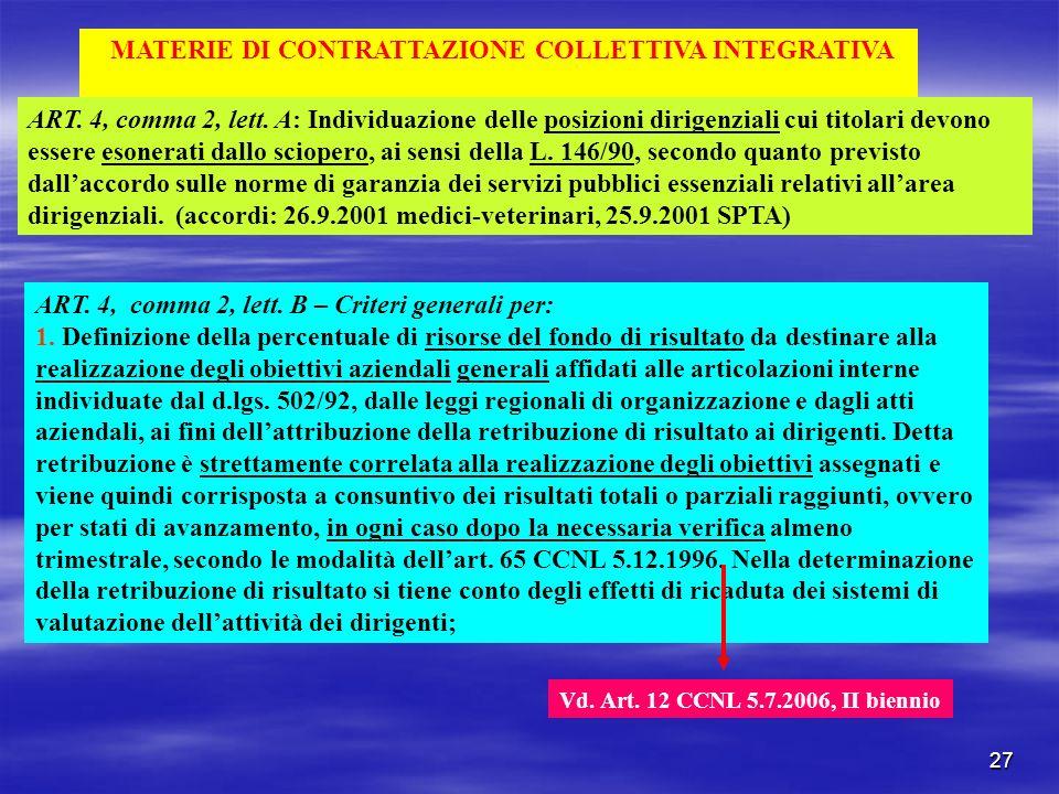27 MATERIE DI CONTRATTAZIONE COLLETTIVA INTEGRATIVA ART. 4, comma 2, lett. A: Individuazione delle posizioni dirigenziali cui titolari devono essere e