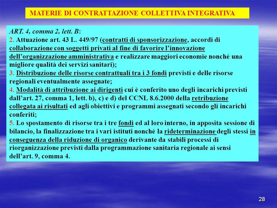 28 MATERIE DI CONTRATTAZIONE COLLETTIVA INTEGRATIVA ART. 4, comma 2, lett. B: 2. Attuazione art. 43 L. 449/97 (contratti di sponsorizzazione, accordi