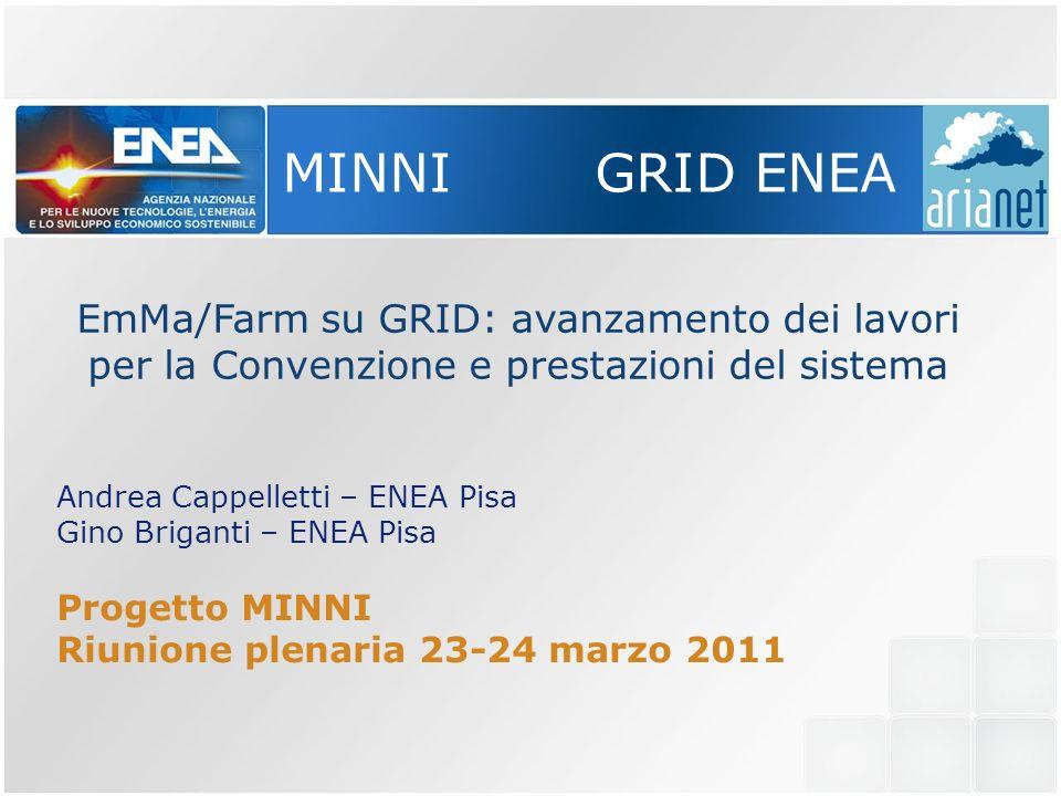 MINNI GRID ENEA EmMa/Farm su GRID: avanzamento dei lavori per la Convenzione e prestazioni del sistema Andrea Cappelletti – ENEA Pisa Gino Briganti – ENEA Pisa Progetto MINNI Riunione plenaria 23-24 marzo 2011
