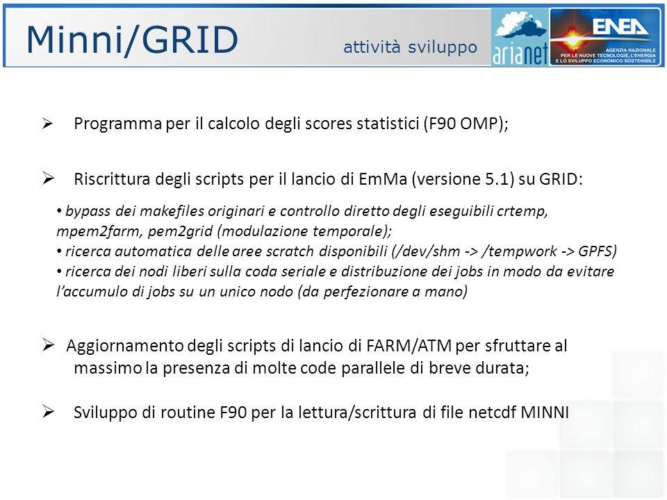 Minni/GRID attività sviluppo Programma per il calcolo degli scores statistici (F90 OMP); Riscrittura degli scripts per il lancio di EmMa (versione 5.1) su GRID: Aggiornamento degli scripts di lancio di FARM/ATM per sfruttare al massimo la presenza di molte code parallele di breve durata; Sviluppo di routine F90 per la lettura/scrittura di file netcdf MINNI bypass dei makefiles originari e controllo diretto degli eseguibili crtemp, mpem2farm, pem2grid (modulazione temporale); ricerca automatica delle aree scratch disponibili (/dev/shm -> /tempwork -> GPFS) ricerca dei nodi liberi sulla coda seriale e distribuzione dei jobs in modo da evitare laccumulo di jobs su un unico nodo (da perfezionare a mano)