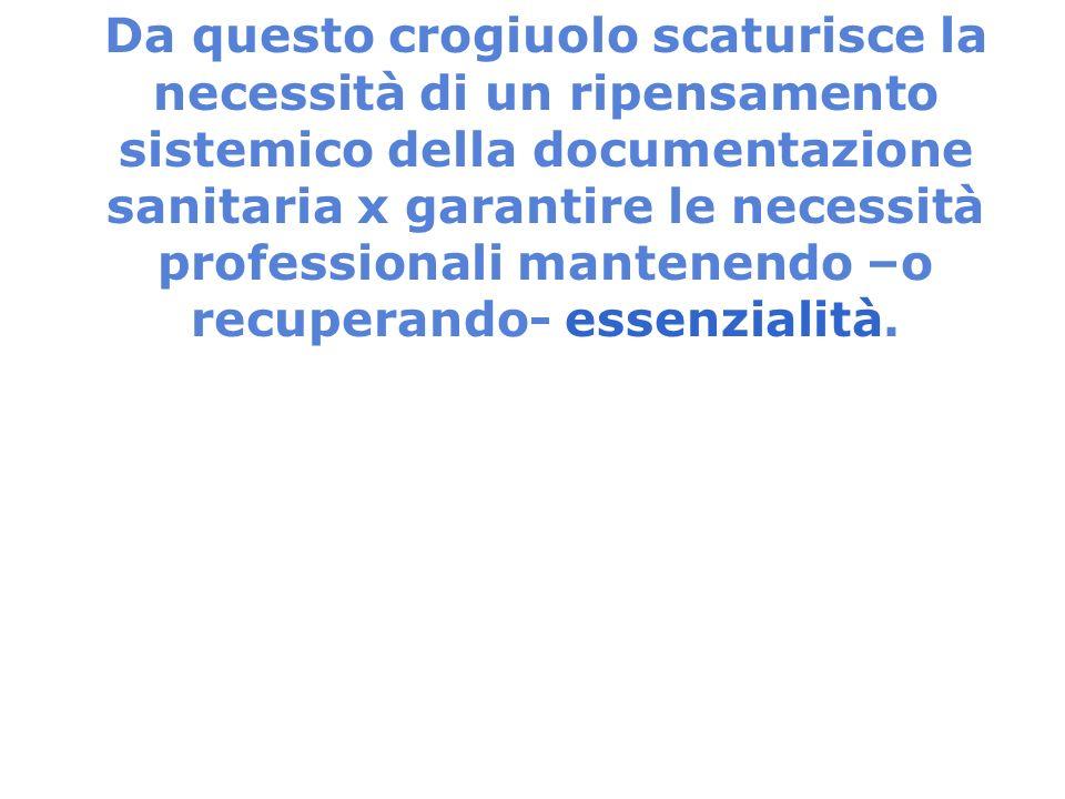 Da questo crogiuolo scaturisce la necessità di un ripensamento sistemico della documentazione sanitaria x garantire le necessità professionali mantene