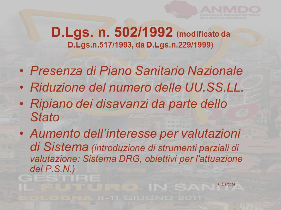 D.Lgs. n. 502/1992 (modificato da D.Lgs.n.517/1993, da D.Lgs.n.229/1999) Presenza di Piano Sanitario Nazionale Riduzione del numero delle UU.SS.LL. Ri