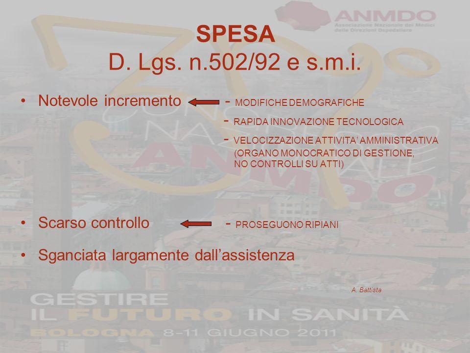 SPESA Accordo Stato-Regioni 8 Agosto 2001 Notevole incremento - MODIFICHE DEMOGRAFICHE PIU ACCENTUATE - RAPIDA INNOVAZIONE TECNOLOGICA PIU ACCENTUATA - VELOCIZZAZIONE ATTIVITA AMMINISTRATIVA Maggiore controllo - LE REGIONI PROVVEDONO A FAR FRONTE AI DISAVANZI - PIANI DI RIENTRO Collegamento con lerogazione dei L.E.A.