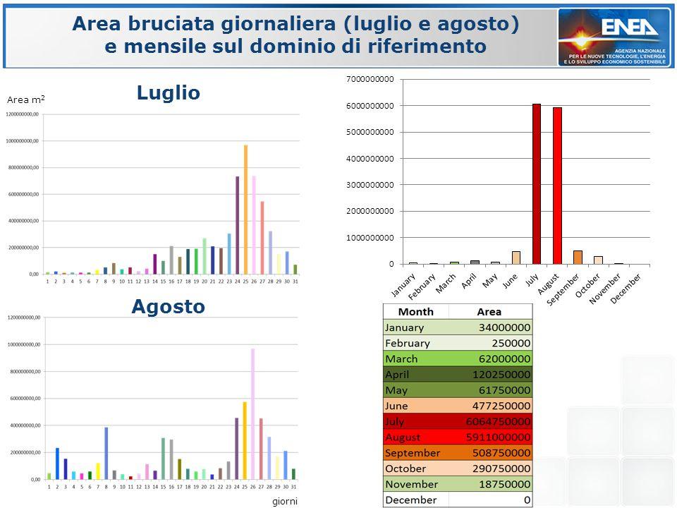 Area bruciata giornaliera (luglio e agosto) e mensile sul dominio di riferimento Area m 2 giorni Luglio Agosto