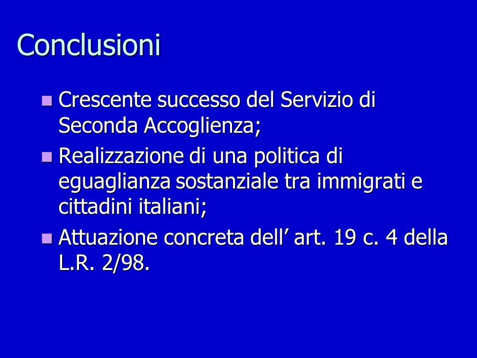 Conclusioni Crescente successo del Servizio di Seconda Accoglienza; Crescente successo del Servizio di Seconda Accoglienza; Realizzazione di una polit