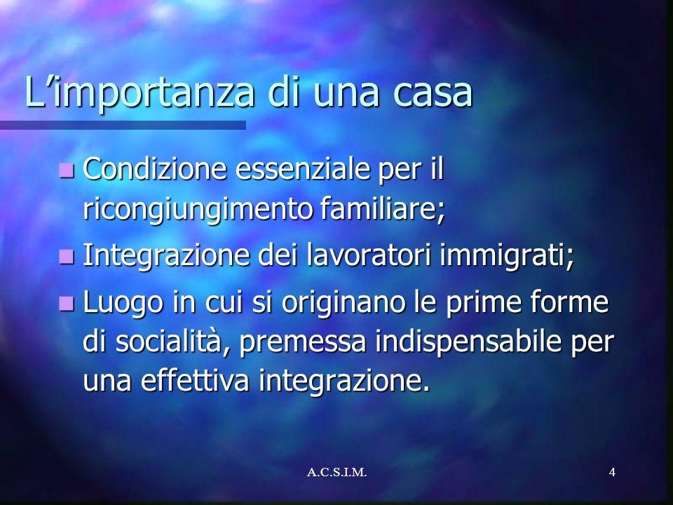 A.C.S.I.M.4 Limportanza di una casa Condizione essenziale per il ricongiungimento familiare; Condizione essenziale per il ricongiungimento familiare;