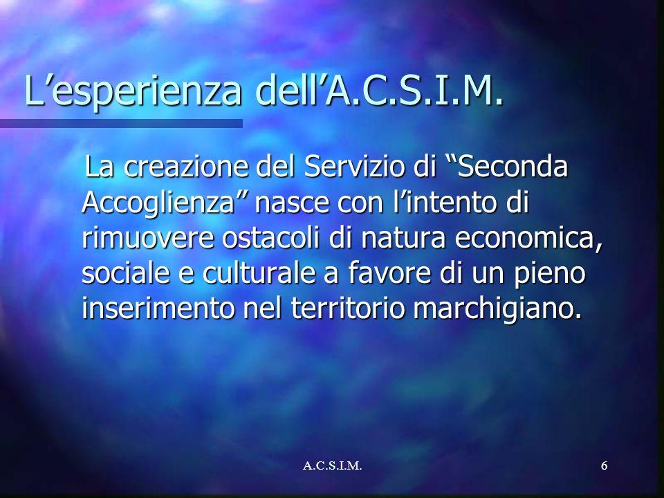 A.C.S.I.M.6 Lesperienza dellA.C.S.I.M. La creazione del Servizio di Seconda Accoglienza nasce con lintento di rimuovere ostacoli di natura economica,