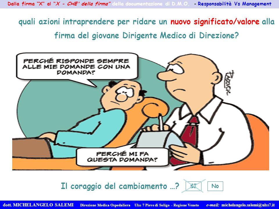 Dalla firma X al X - CHE' della firma della documentazione di D.M.O. - Responsabilità Vs Management dott. MICHELANGELO SALEMI Direzione Medica Ospedal