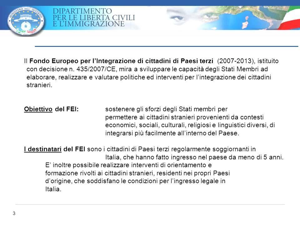 3 Il Fondo Europeo per lIntegrazione di cittadini di Paesi terzi (2007-2013), istituito con decisione n. 435/2007/CE, mira a sviluppare le capacità de