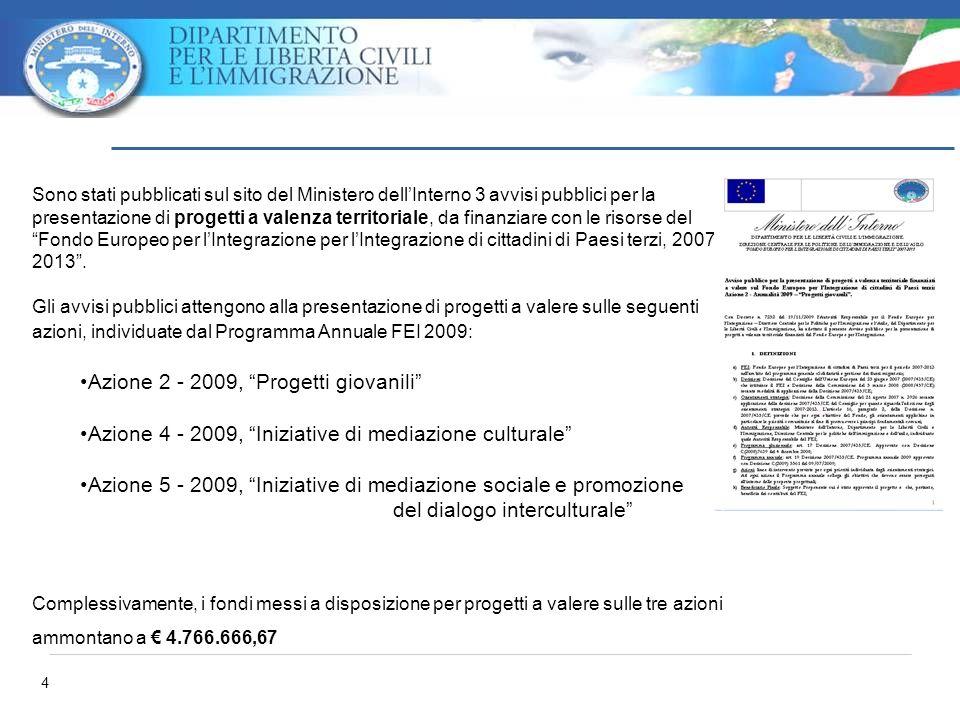 4 Sono stati pubblicati sul sito del Ministero dellInterno 3 avvisi pubblici per la presentazione di progetti a valenza territoriale, da finanziare co