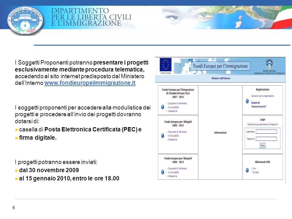 6 I Soggetti Proponenti potranno presentare i progetti esclusivamente mediante procedura telematica, accedendo al sito internet predisposto dal Minist