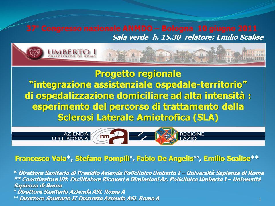Progetto regionale integrazione assistenziale ospedale-territorio di ospedalizzazione domiciliare ad alta intensità : esperimento del percorso di trat