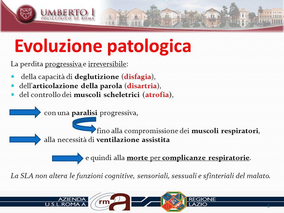 Evoluzione patologica La perdita progressiva e irreversibile: della capacità di deglutizione (disfagia), dell'articolazione della parola (disartria),