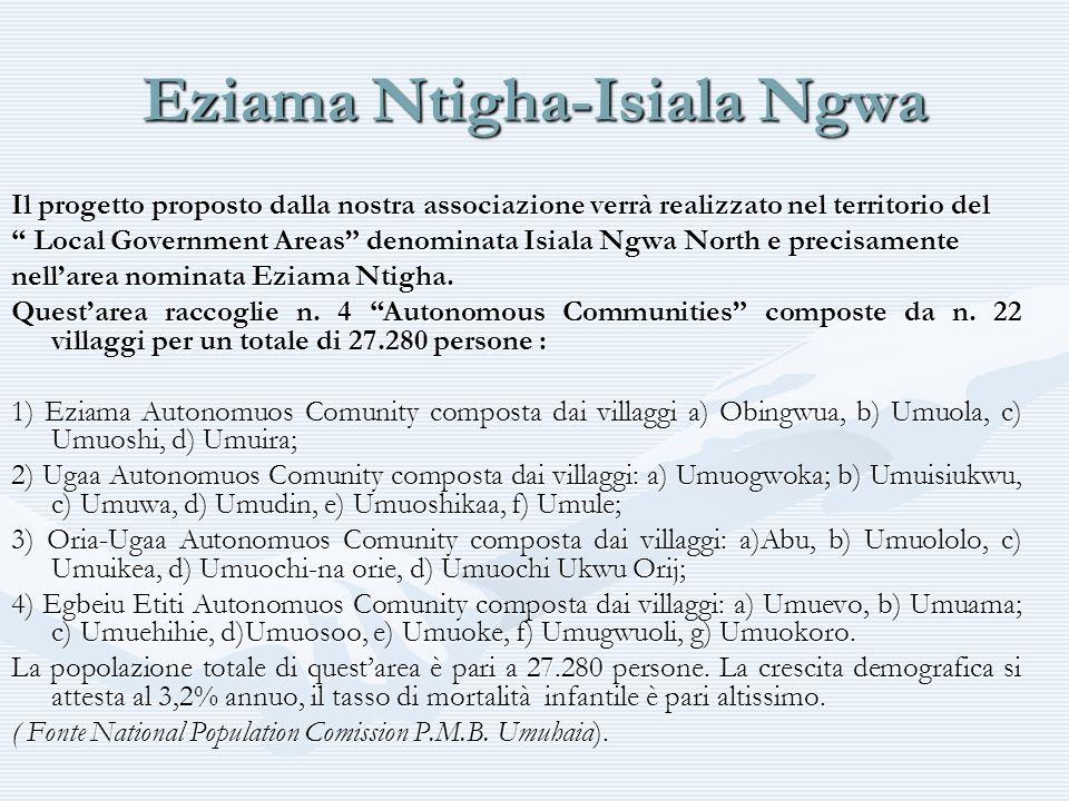 Eziama Ntigha-Isiala Ngwa Il progetto proposto dalla nostra associazione verrà realizzato nel territorio del Local Government Areas denominata Isiala