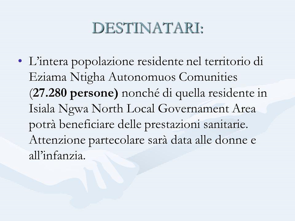 DESTINATARI: Lintera popolazione residente nel territorio di Eziama Ntigha Autonomuos Comunities (27.280 persone) nonché di quella residente in Isiala